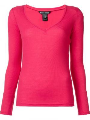 Топ с V-образным вырезом Satisfaction Thomas Wylde. Цвет: розовый и фиолетовый