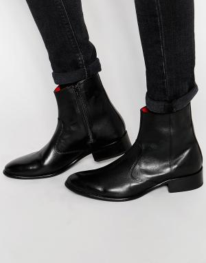 Base London Кожаные ботинки на молнии Lancelot. Цвет: черный