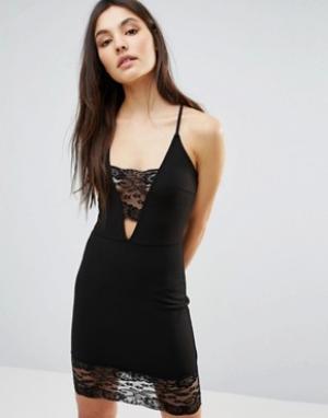 Parisian Облегающее платье с кружевной отделкой. Цвет: черный