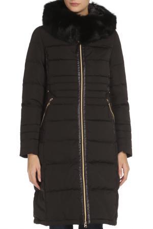 Полуприлегающее пальто с отделкой из меха SNOWIMAGE. Цвет: 91 черный