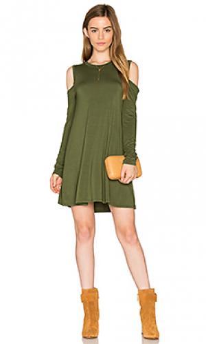 Платье с открытыми плечами radford Michael Lauren. Цвет: оливковый