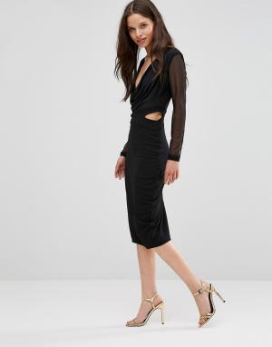 Hedonia Платье-футляр с сетчатыми рукавами. Цвет: черный