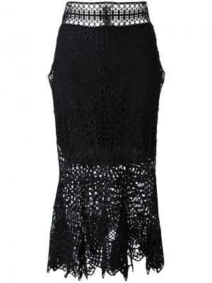 Кружевная юбка Jonathan Simkhai. Цвет: чёрный