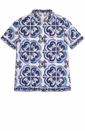 Хлопковая рубашка в пижамном стиле с принтом Dolce & Gabbana. Цвет: голубой