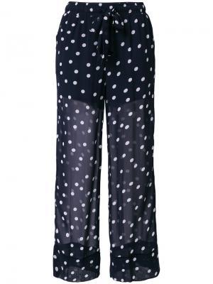 Полупрозрачные брюки в горох Ganni. Цвет: синий