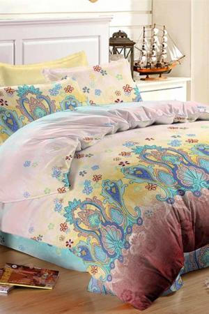 Постельное бельё 1,5 сп. Французский стиль. Цвет: желтый, голубой, серый