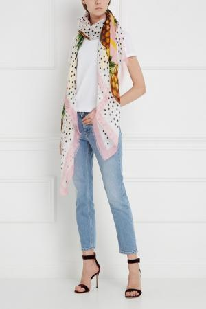 Льняной платок Dolce&Gabbana. Цвет: розовый, желтый