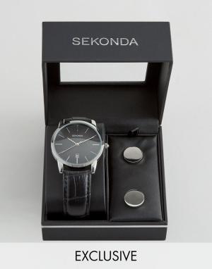 Sekonda Часы с черным кожаным ремешком и запонки в подарочном наборе э. Цвет: черный