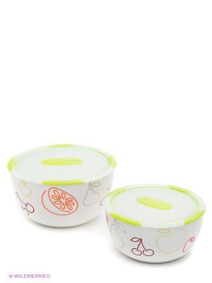 Набор керамических салатников с крышками, в наборе 2 шт. Объемы изделий наборе, л 1,7/3,0. OURSSON. Цвет: зеленый