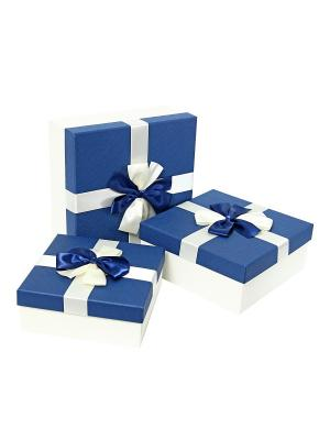 Коробка картонная,  набор из 3-х квадратных, 20.5х20.5х8, 24х24х10, 27х27х11.5 см. VELD-CO. Цвет: синий