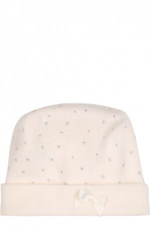 Вязаная шапка с бантом и стразами Il Trenino. Цвет: белый