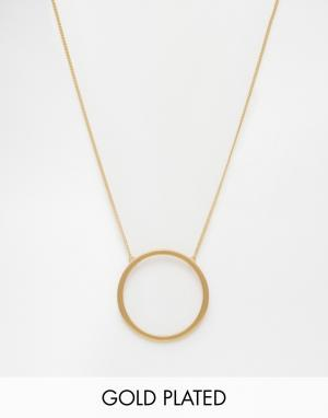 Pilgrim Длинное золотистое ожерелье с подвеской-кольцом. Цвет: золотой