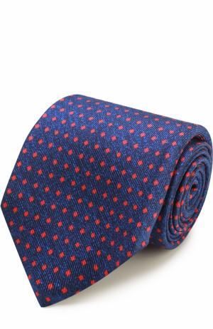 Шелковый галстук с узором Kiton. Цвет: темно-синий