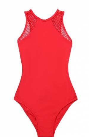 Слитный купальник с открытой спиной и перфорированными вставками Melissa Odabash. Цвет: красный
