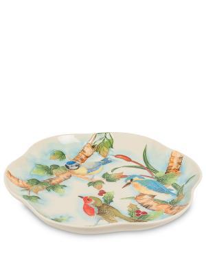 Тарелка декор Птичий хор круг (Pavone) Pavone. Цвет: бежевый