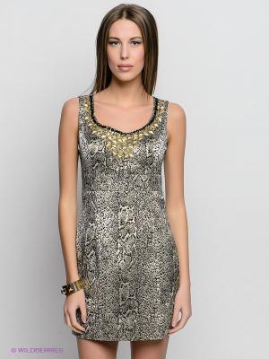 Платье INCITY. Цвет: черный, золотистый