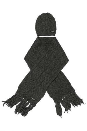 Шапка с шарфом ASTON MARTIN. Цвет: серый