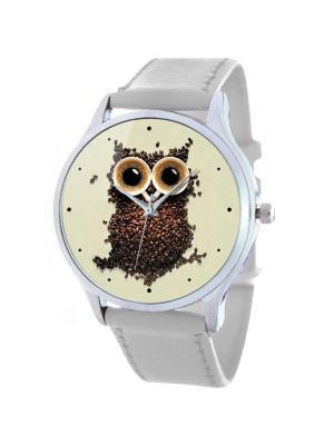 Дизайнерские часы Кофейная сова Tina Bolotina. Цвет: темно-коричневый, светло-серый