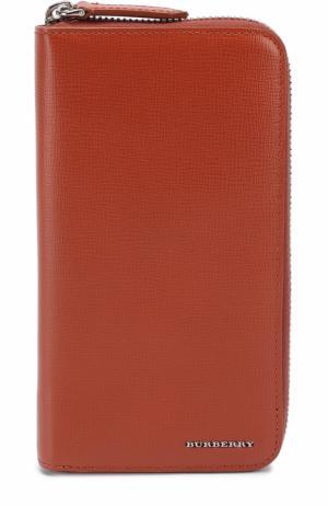 Кожаное портмоне на молнии с отделениями для кредитных карт и монет Burberry. Цвет: оранжевый