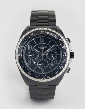 Police Черные часы-браслет с дополнительными циферблатами Navy. Цвет: черный