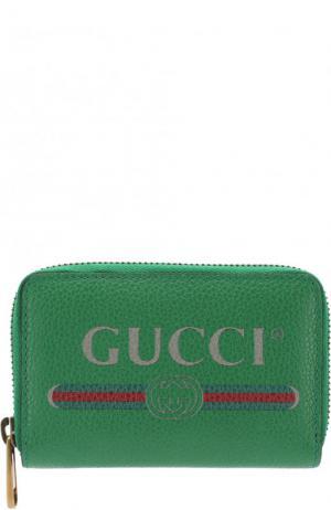 Кожаный футляр для кредитных карт на молнии Gucci. Цвет: зеленый