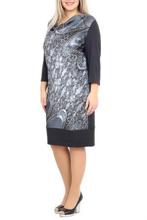 Платье средней длинны с ярким принтом Balsako. Цвет: серый