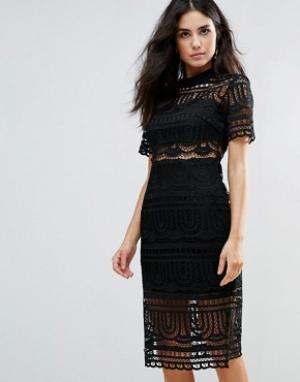 Goldie Кружевное платье с черной подкладкой Perspective Empire. Цвет: черный