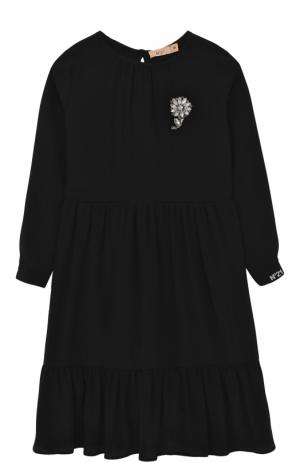 Платье с брошью No. 21. Цвет: черный