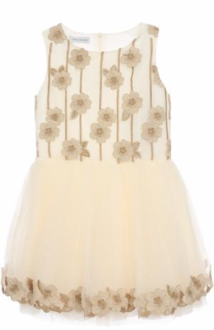 Приталенное мини-платье с цветочной вышивкой и аппликациями I Pinco Pallino. Цвет: золотой