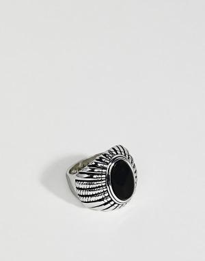 Rebel Heritage Кольцо с черным ониксом. Цвет: серебряный