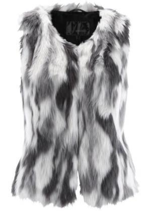 Жилет из искусственного меха (шиферно-серый/серый/цвет белой шерсти с узором) bonprix. Цвет: шиферно-серый/серый/цвет белой шерсти с узором