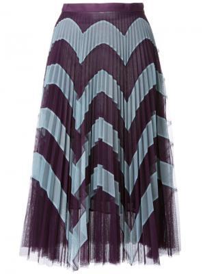 Плиссированная юбка с зигзагообразным узором Mary Katrantzou. Цвет: синий