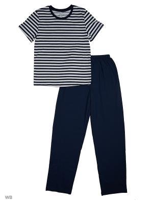 Пижама: топ, брюки Modis. Цвет: белый, темно-синий, черный