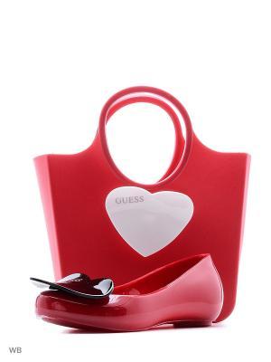 Набор: балетки и сумочка GUESS. Цвет: красный