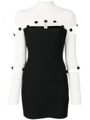 Приталенное платье с контрастными панелями David Koma. Цвет: чёрный