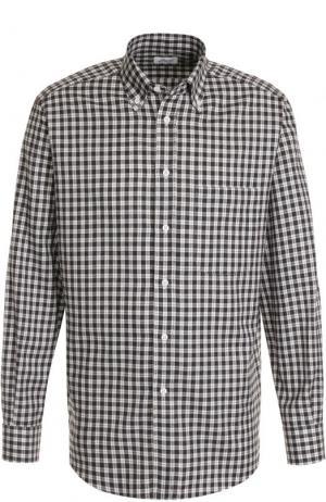 Хлопковая рубашка в клетку с воротником button down Brioni. Цвет: коричневый