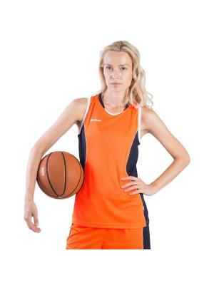 Женская баскетбольная игровая майка Advance 2K. Цвет: оранжевый, белый, темно-синий
