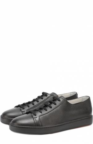 Кожаные кеды на шнуровке Santoni. Цвет: черный