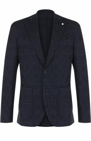 Однобортный пиджак в клетку из смеси шерсти и хлопка L.B.M. 1911. Цвет: темно-синий