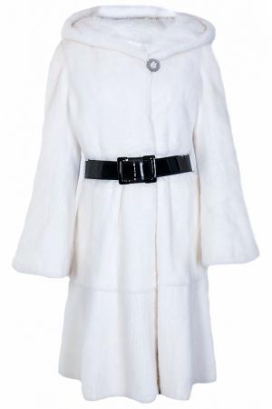 Пальто с мехом норки Mala Mati. Цвет: белый