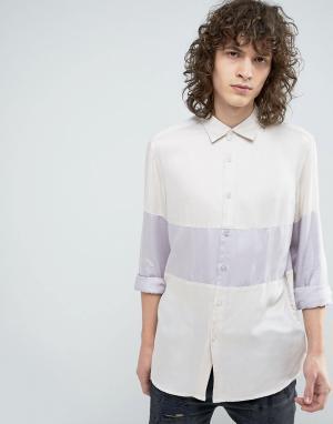 ASOS Розовая вискозная рубашка классического кроя с горизонтальными вставка. Цвет: розовый