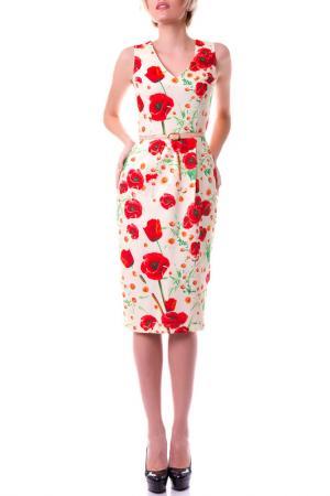 Платье вечернее OKS BY OKSANA DEMCHENKO. Цвет: молочный, белая ромашка