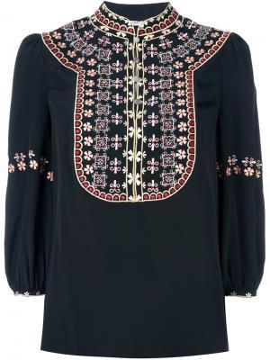 Блузка с вышивкой Vilshenko. Цвет: чёрный