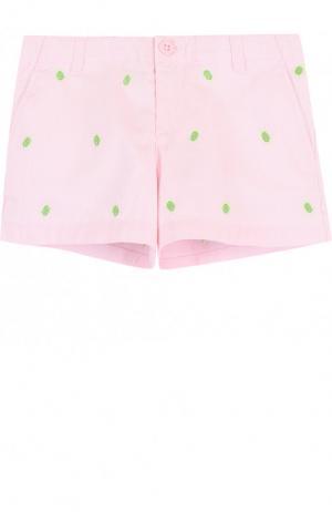 Хлопковые мини-шорты с вышивкой Polo Ralph Lauren. Цвет: розовый