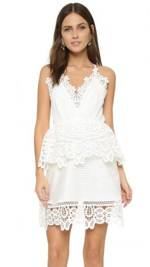 Платье с кружевной баской Self Portrait. Цвет: белый