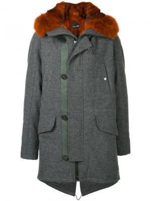 Пальто на молнии Yves Salomon Homme. Цвет: серый