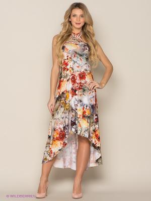Платье МадаМ Т. Цвет: коричневый, белый, серый, серо-зеленый, бежевый, красный
