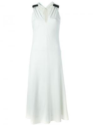 Платье c V-образным вырезом Neil Barrett. Цвет: белый