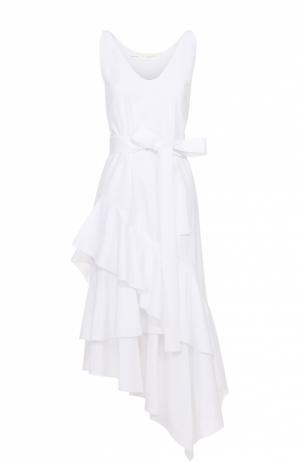 Платье асимметричного кроя с поясом и оборками Aquilano Rimondi. Цвет: белый