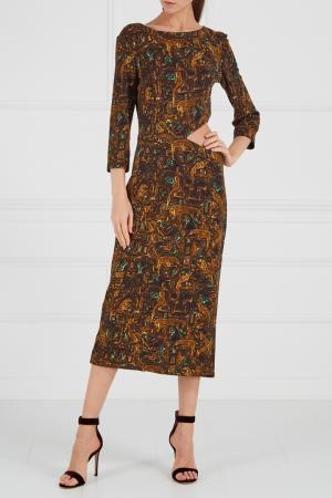 Платье с изумрудным принтом A LA RUSSE. Цвет: multicolor